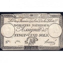 Assignat 25a - 25 sols - 4 janvier 1792 - Série 1 - Etat : TB-