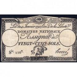 Assignat 25a - 25 sols - 4 janvier 1792 - Série 110 - Etat : TB