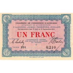 Auxerre - Pirot 17-1 - 1 franc - Série 149 - 19/12/1915 - Etat : TTB