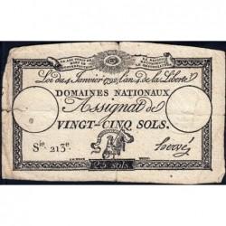 Assignat 25a - 25 sols - 4 janvier 1792 - Série 213 - Etat : TB