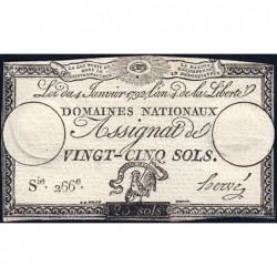 Assignat 25a - 25 sols - 4 janvier 1792 - Série 266 - Etat : TTB