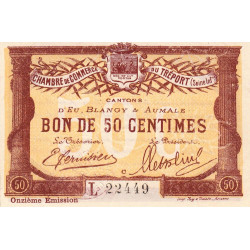 Le Tréport (Eu, Blangy, Aumale) - Pirot 71-42-L - 50 centimes - 1918 - Etat : SPL