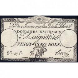 Assignat 25a - 25 sols - 4 janvier 1792 - Série 271 - Etat : TB+