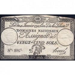 Assignat 25a - 25 sols - 4 janvier 1792 - Série 886 - Etat : TB