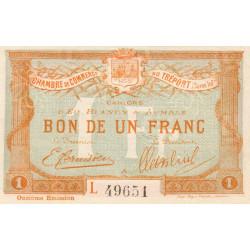 Le Tréport (Eu, Blangy, Aumale) - Pirot 71-44-L - 1 franc - 1918 - Etat : SPL