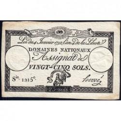 Assignat 25a - 25 sols - 4 janvier 1792 - Série 1215 - Etat : TTB