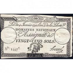 Assignat 25a - 25 sols - 4 janvier 1792 - Série 1447 - Etat : TB-