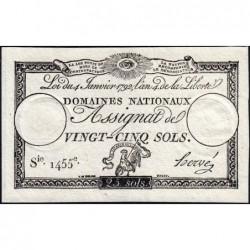 Assignat 25a - 25 sols - 4 janvier 1792 - Série 1455 - Etat : SPL