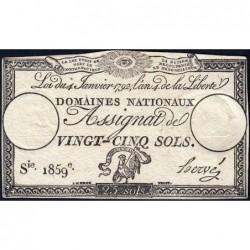 Assignat 25a - 25 sols - 4 janvier 1792 - Série 1859 - Etat : TTB+