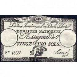Assignat 25a - 25 sols - 4 janvier 1792 - Série 1863 - Etat : TTB
