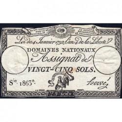 Assignat 25a - 25 sols - 4 janvier 1792 - Série 1863 - Etat : TB+