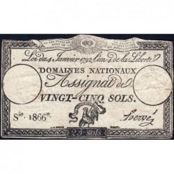 Assignat 25a - 25 sols - 4 janvier 1792 - Série 1866 - Etat : TB