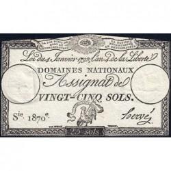Assignat 25a - 25 sols - 4 janvier 1792 - Série 1870 - Etat : TTB+