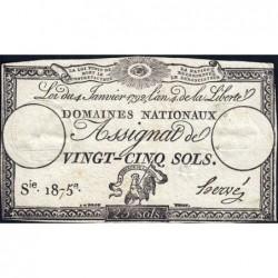 Assignat 25a - 25 sols - 4 janvier 1792 - Série 1875 - Etat : TTB