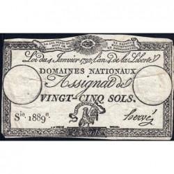 Assignat 25a - 25 sols - 4 janvier 1792 - Série 1889 - Etat : TB