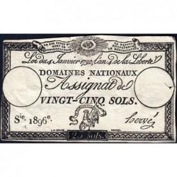 Assignat 25a - 25 sols - 4 janvier 1792 - Série 1896 - Etat : TB