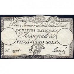 Assignat 25a - 25 sols - 4 janvier 1792 - Série 1922 - Etat : TB+