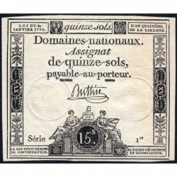 Assignat 24a - 15 sols - 4 janvier 1792 - Série 1 - Etat : NEUF