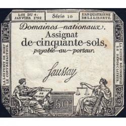 Assignat 26a - 50 sols - 4 janvier 1792 - Série 10 - Etat : TB+