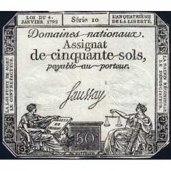 Assignat 26a - 50 sols - 4 janvier 1792 - Série 10 - Etat : TTB