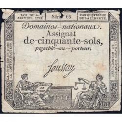 Assignat 26a - 50 sols - 4 janvier 1792 - Série 66 - Etat : B