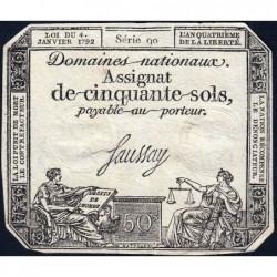Assignat 26a - 50 sols - 4 janvier 1792 - Série 90 - Etat : TTB+