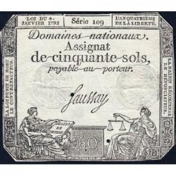 Assignat 26a - 50 sols - 4 janvier 1792 - Série 109 - Etat : TTB