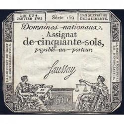 Assignat 26a - 50 sols - 4 janvier 1792 - Série 159 - Etat : TTB