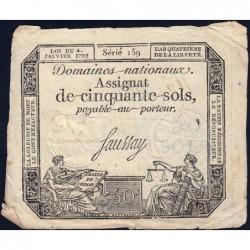 Assignat 26a - 50 sols - 4 janvier 1792 - Série 159 - Etat : TB+