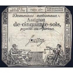 Assignat 26a - 50 sols - 4 janvier 1792 - Série 167 - Etat : B+