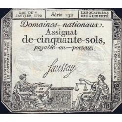 Assignat 26a - 50 sols - 4 janvier 1792 - Série 192 - Etat : TB+