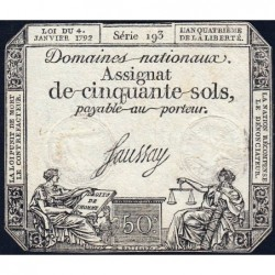Assignat 26a - 50 sols - 4 janvier 1792 - Série 193 - Etat : TTB