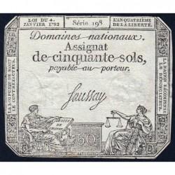 Assignat 26a - 50 sols - 4 janvier 1792 - Série 198 - Etat : TTB