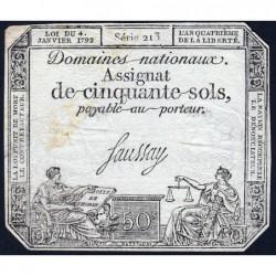 Assignat 26a - 50 sols - 4 janvier 1792 - Série 213 - Etat : TB