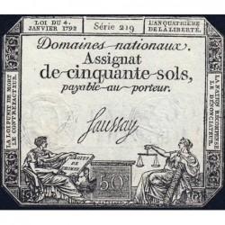 Assignat 26a - 50 sols - 4 janvier 1792 - Série 219 - Etat : TTB