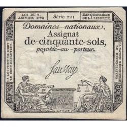 Assignat 26a - 50 sols - 4 janvier 1792 - Série 221 - Etat : TTB+
