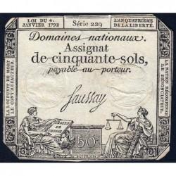 Assignat 26a - 50 sols - 4 janvier 1792 - Série 229 - Etat : TB+