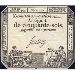 Assignat 26a - 50 sols - 4 janvier 1792 - Série 255 - Etat : TB+