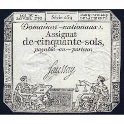 Assignat 26a - 50 sols - 4 janvier 1792 - Série 259 - Etat : TTB