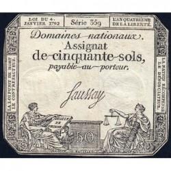Assignat 26a - 50 sols - 4 janvier 1792 - Série 359 - Etat : TB+