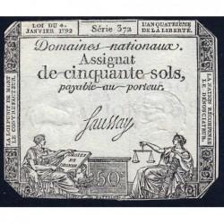 Assignat 26a - 50 sols - 4 janvier 1792 - Série 372 - Etat : TB