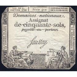 Assignat 26a - 50 sols - 4 janvier 1792 - Série 412 - Etat : TB+