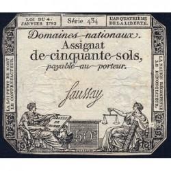 Assignat 26a - 50 sols - 4 janvier 1792 - Série 434 - Etat : TB