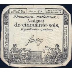 Assignat 26a - 50 sols - 4 janvier 1792 - Série 435 - Etat : TB+