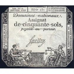 Assignat 26a - 50 sols - 4 janvier 1792 - Série 450 - Etat : TB+