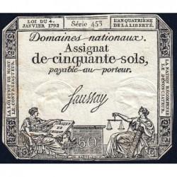 Assignat 26a - 50 sols - 4 janvier 1792 - Série 453 - Etat : TB+
