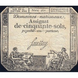 Assignat 26a - 50 sols - 4 janvier 1792 - Série 467 - Etat : TB
