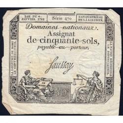 Assignat 26a - 50 sols - 4 janvier 1792 - Série 470 - Etat : TB