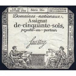 Assignat 26a - 50 sols - 4 janvier 1792 - Série 560 - Etat : TB+