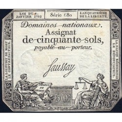 Assignat 26a - 50 sols - 4 janvier 1792 - Série 680 - Etat : TTB